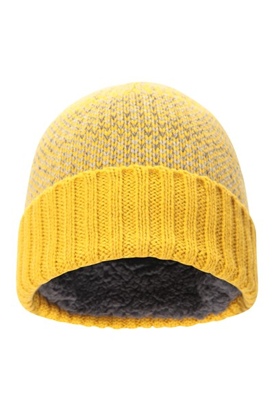 Mens Fleck Lined Beanie - Yellow
