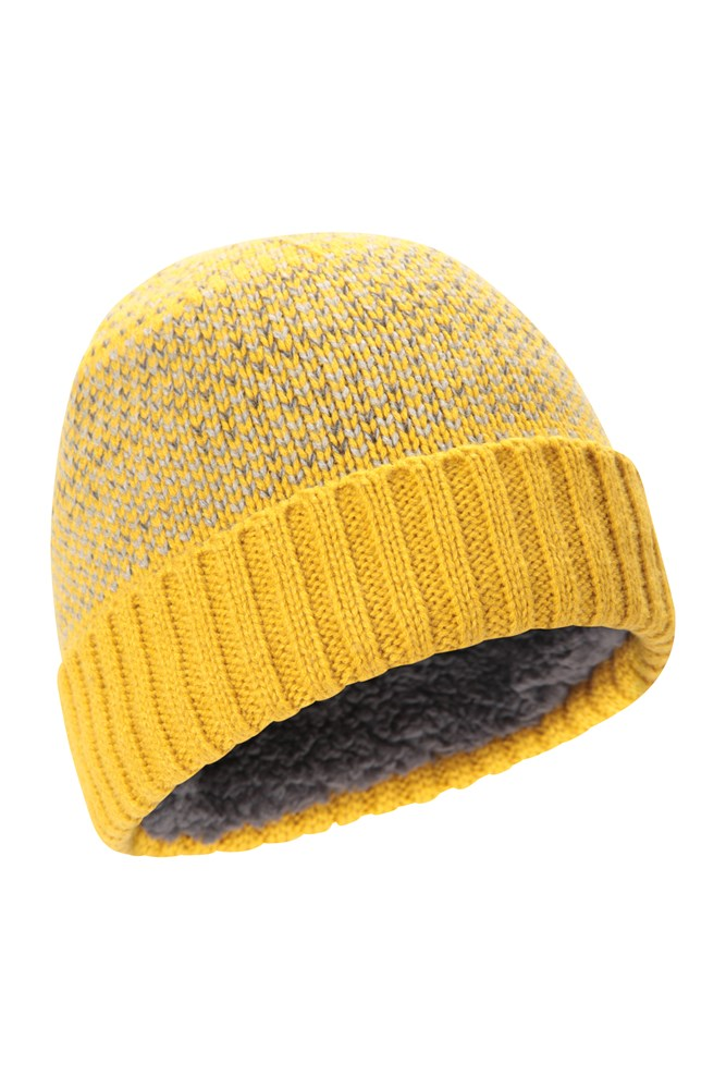 One Size Mountain Warehouse Lightweight Mens  Fleck Lined Beanie In Yellow