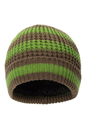 Striped Rib Lined Mens Beanie