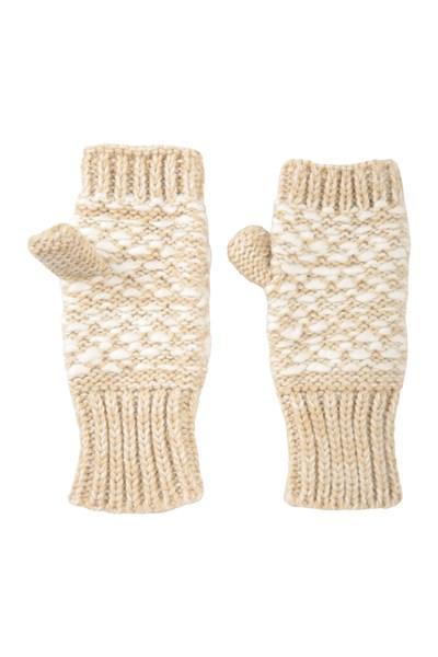 Patterned Fingerless Knitted Womens Mittens - Beige