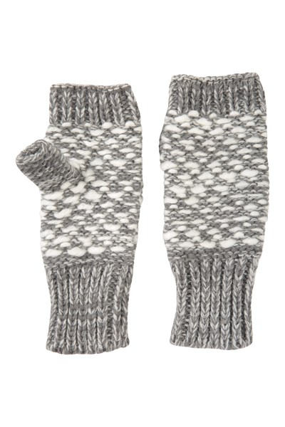 Patterned Fingerless Knitted Womens Mittens - Grey