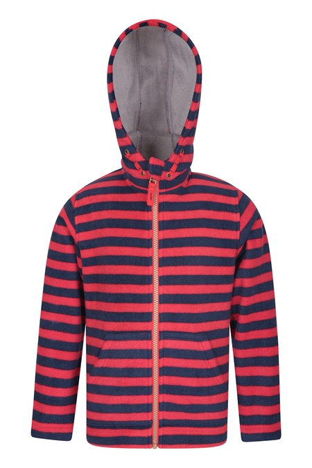 031516 AVIEMORE KIDS STRIPED FUR LINED FLEECE HOODY