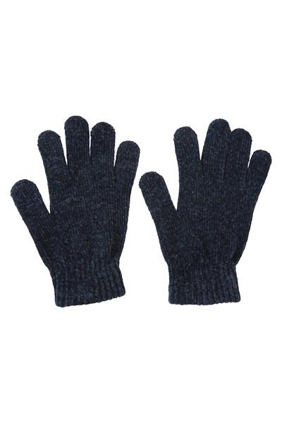 Chenille Womens Gloves - Navy