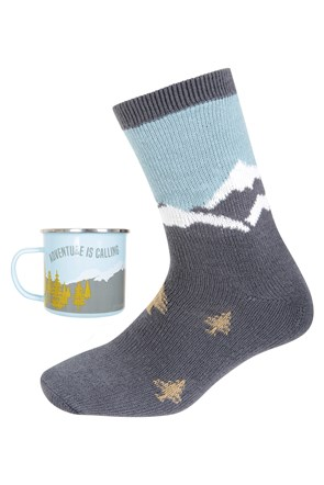 Enamel Mug & Sock Set - Mens