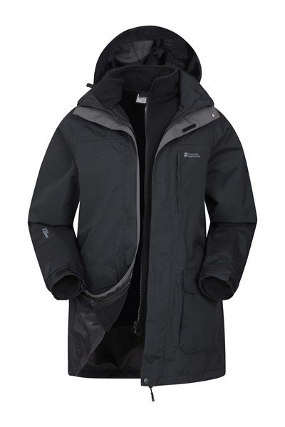 Glacier Mens Long 3 in 1 Waterproof Jacket - Black