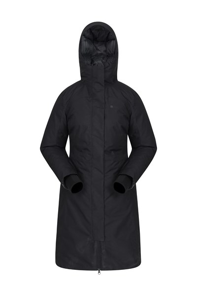 Polar Hybrid Womens Long Down Jacket - Black