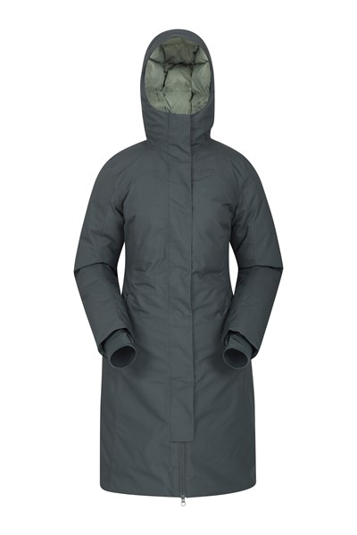 Polar Hybrid Womens Long Down Jacket - Green