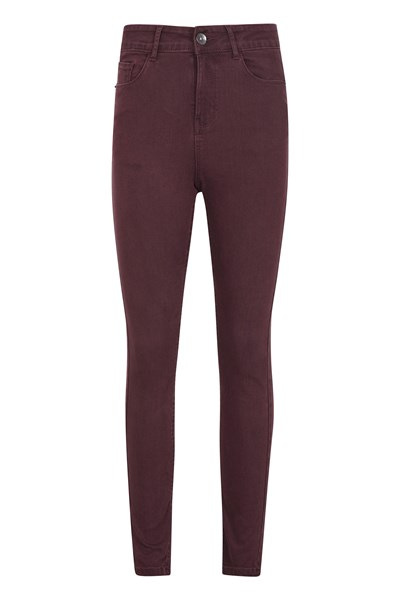 Casual Womens Stretch Trousers - Burgundy