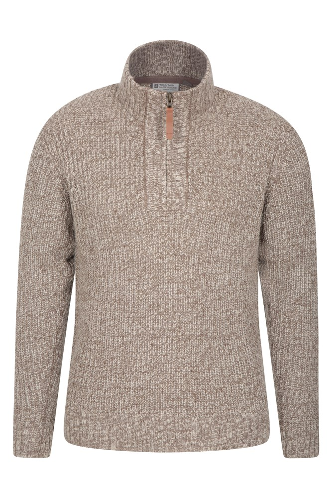 1/4 Zip Mens Chunky Knit Jumper - Beige