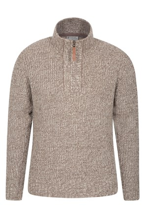 1/4 Zip Mens Chunky Knit Jumper