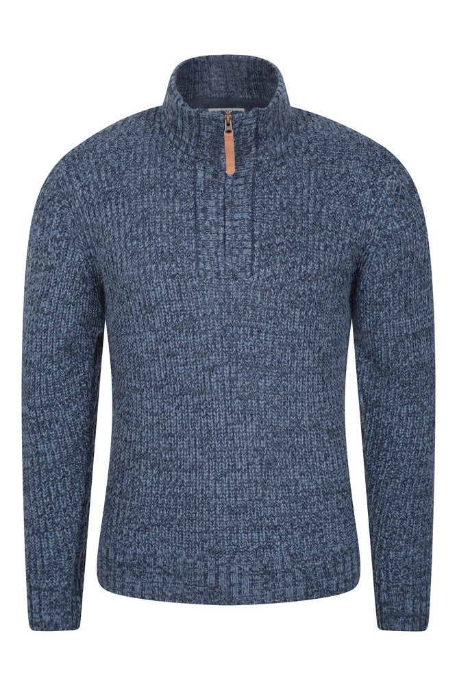 1/4 Zip Mens Chunky Knit Jumper - Navy