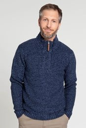 1/4 Zip Mens Chunky Knit Sweater