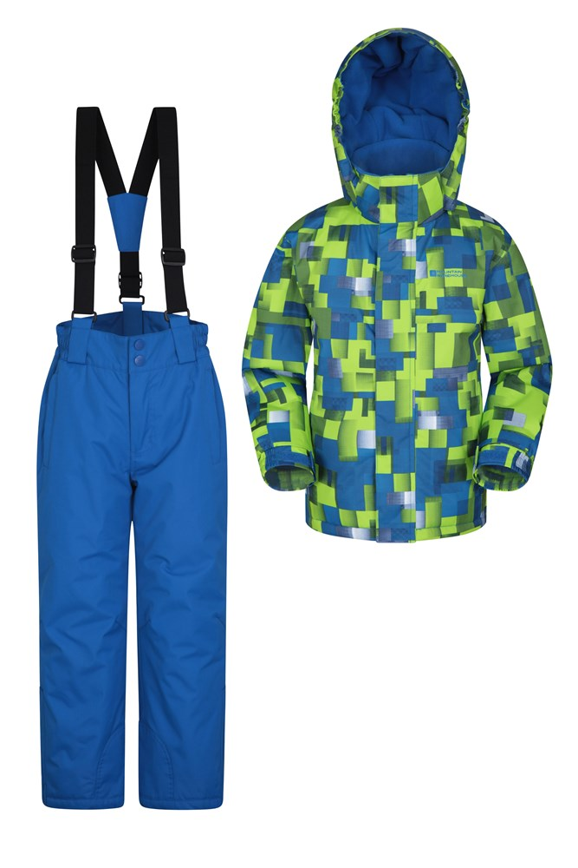 Mountain Warehouse Kinder Skijacke & -hosen Set blau, grün, violet | 05057634357623