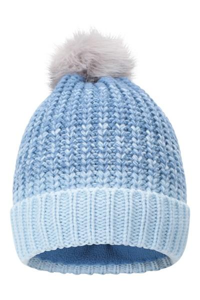 Multi Colour Womens Stripe Pom Beanie - Blue