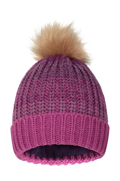 Multi Colour Womens Stripe Pom Beanie - Purple