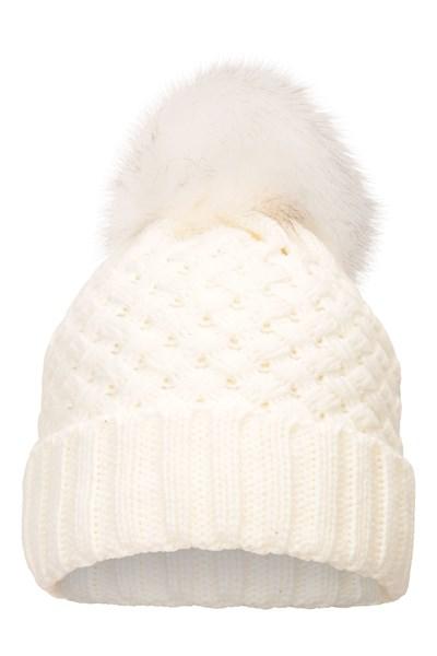 Lisbon Faux Fur-Lined Womens Pom-Pom Beanie - Cream
