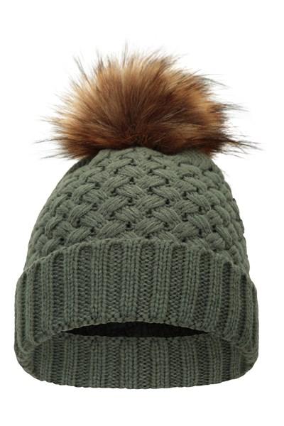 Lisbon Faux Fur-Lined Womens Pom-Pom Beanie - Green