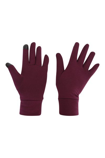 Touch Screen Womens Liner Gloves - Burgundy