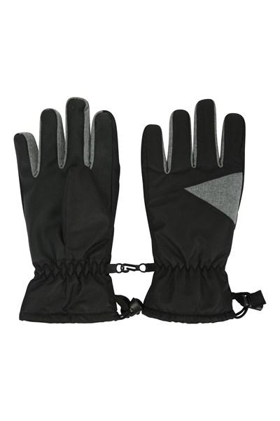Kids Waterproof Ski Gloves - Black