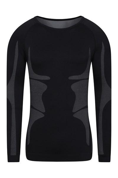 Seamless Long Sleeve Baselayer Mens Top - Black