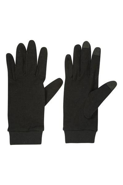 Merino Mens Liner Gloves - Black
