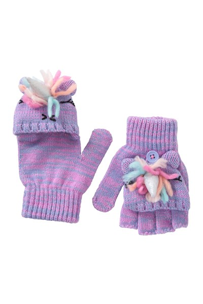 Unicorn Kids Knitted Gloves - Pink