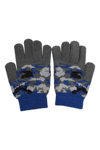 Camo Kids Knitted Gloves - Blue