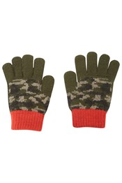 Camo Kids Knitted Gloves
