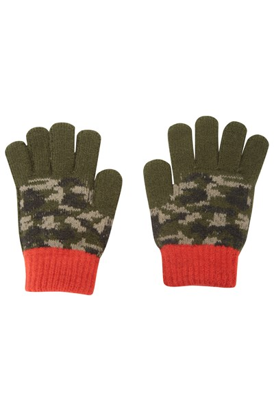 Camo Kids Knitted Gloves - Green