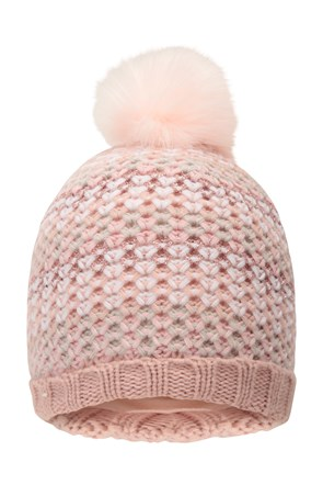 Autumn Blush Fleece Knitted Kids Beanie