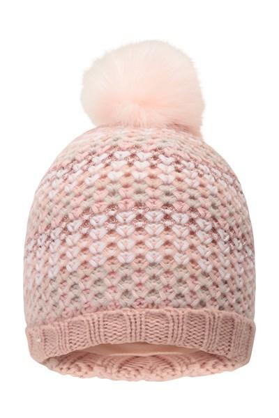 Autumn Blush Fleece Knitted Kids Beanie - Light Pink