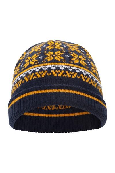 Snow Knitted Kids Beanie - Navy