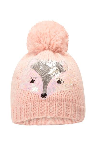 Fox Knitted Fleece-Lined Kids Hat - Pink