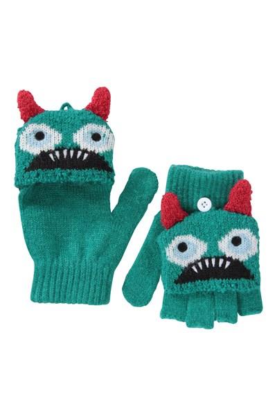 Monster Kids Knitted Gloves - Green