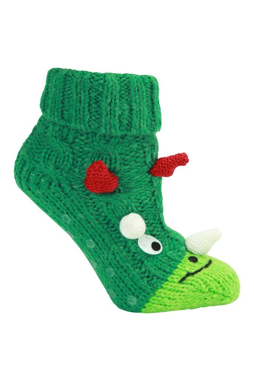 Mountain Warehouse Dino Kinder Anti-Rutsch Socken grün | 05057634406734
