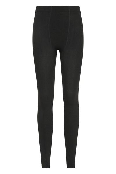 Womens Fluffy Fleece Lined Thermal Leggings - Black