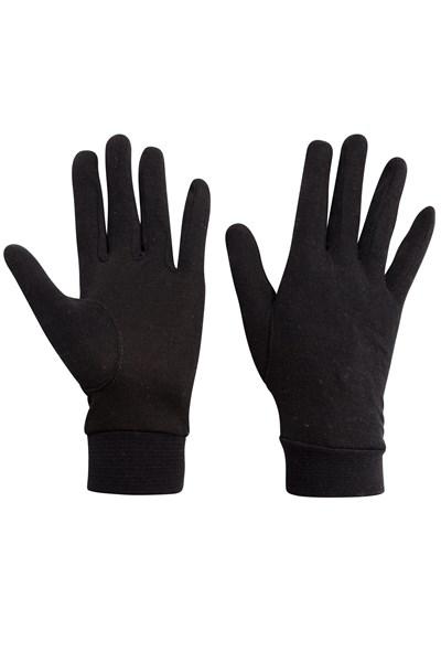 Womens Silk Gloves - Black