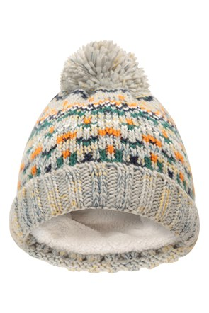 Fairisle Fleece Knitted Kids Beanie
