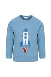 Neon Sheep Rocket Applique Kids Sweatshirt