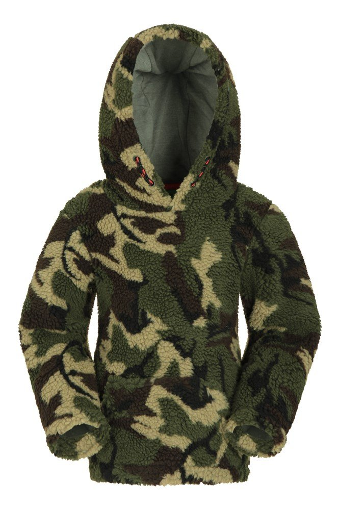 Preston Camo Borg Fleece Kids Hoodie – Green