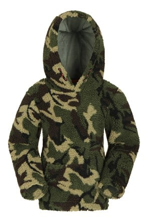 Preston Camo Borg Fleece Kids Hoody