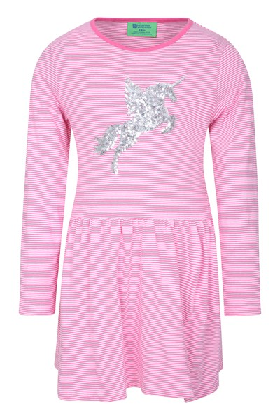 Daisy Stripes Unicorn Kids Dress - Pink