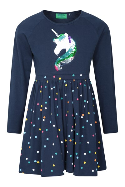 Poppy Sequin Unicorn Kids Dress - Blue