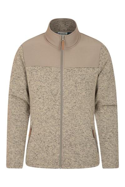 Idris Panelled Mens Full-Zip Fleece Jacket - Beige