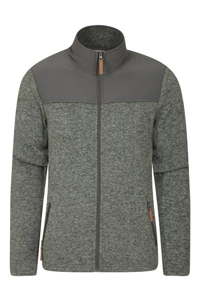 Idris Panelled Mens Full-Zip Fleece Jacket - Grey