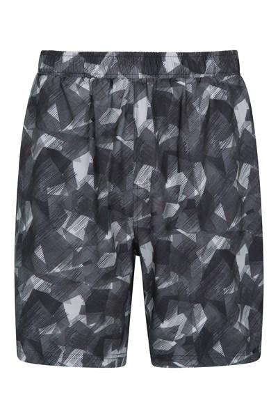 Hurdle Printed Mens Running Shorts - Black