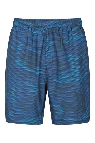 Hurdle Printed Mens Running Shorts - Blue