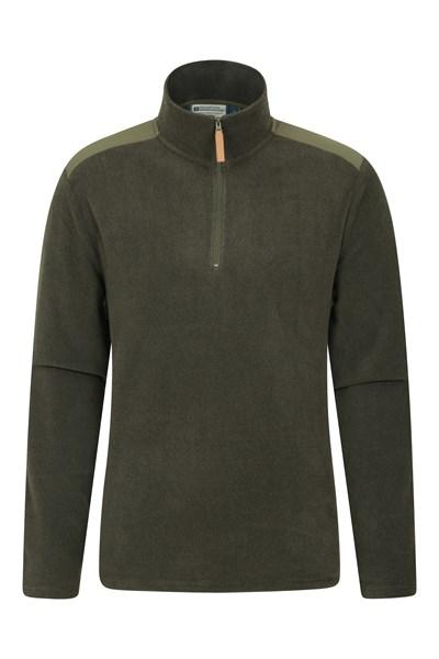 Hebridean Panel Mens Half-Zip Fleece - Green