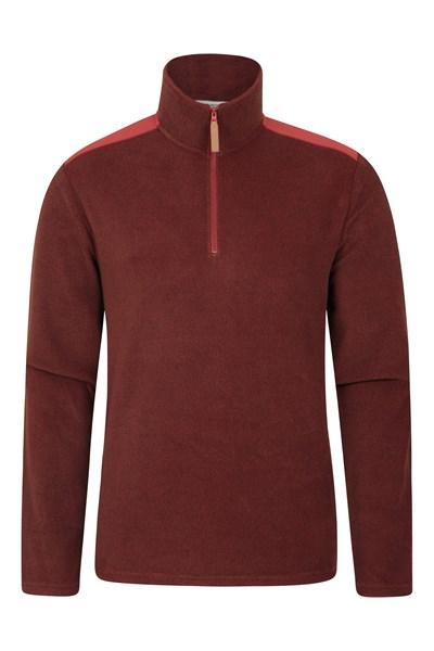 Hebridean Panel Mens Half-Zip Fleece - Red