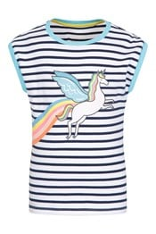 Striped Glitter Unicorn Kids T-Shirt